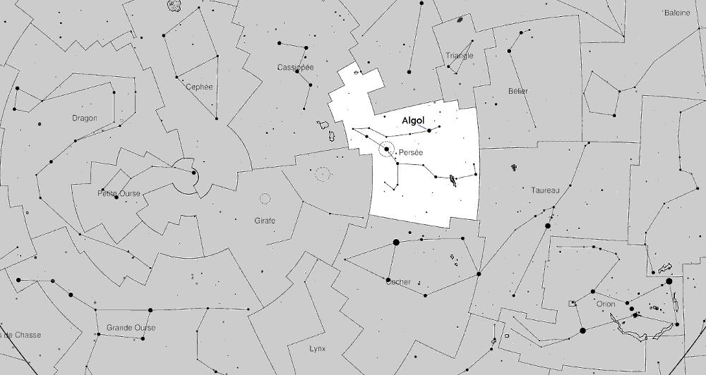 Algol dans la constellation de Persée