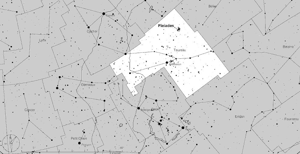 Les pléiades dans la constellation du Taureau