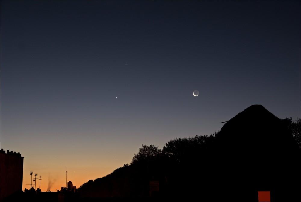 Conjonction Lune Venus Saturne Mercure