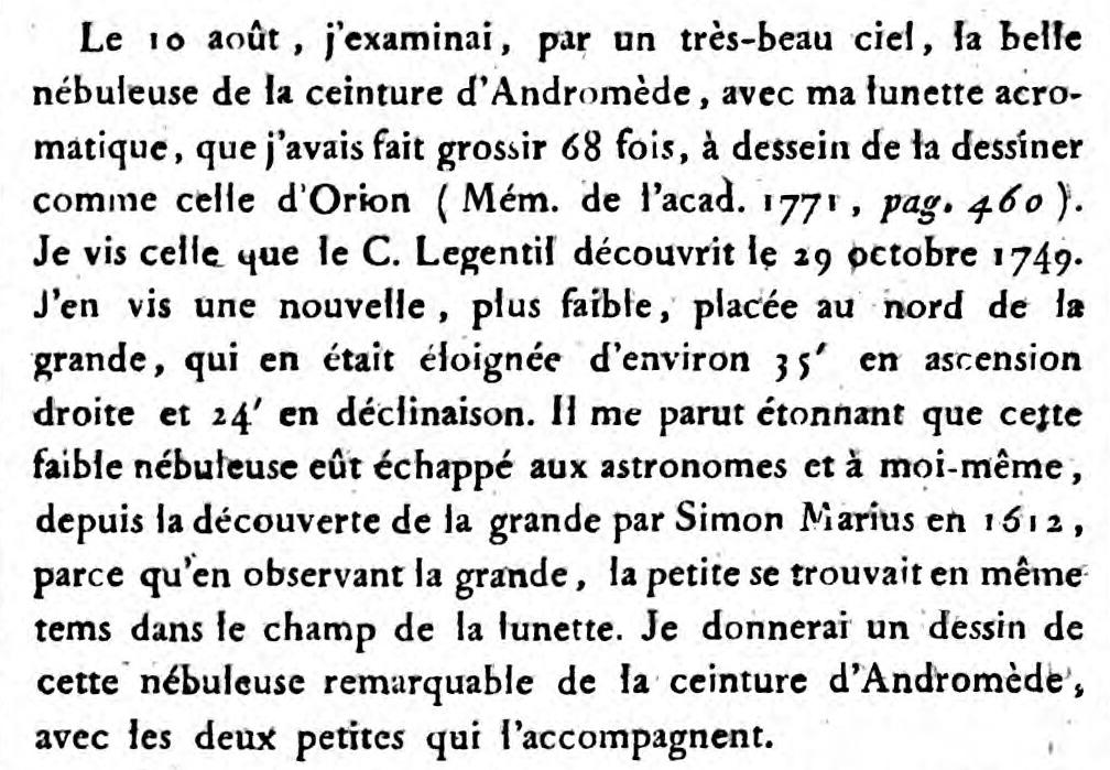 M 110 décrit par Charles Messier