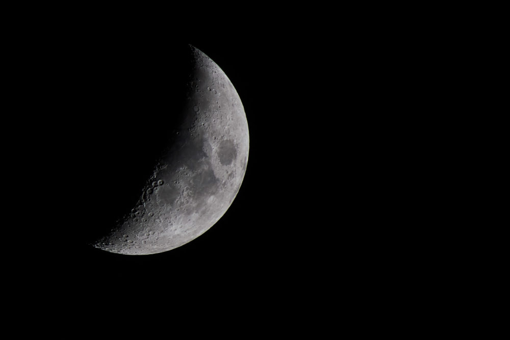 Lune au cinquième jour. Image prise le 10 juin 2016. Crédit photo : Stéphane Germain